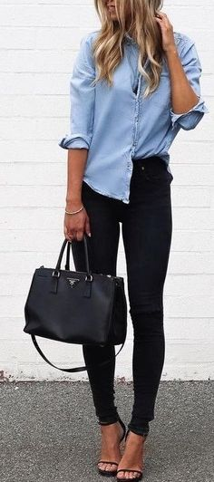 prada bag + chambray top + black denim + strappy heels