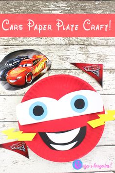 Cars 3 Craft: Lightning McQueen Paper Plate - EnzasBargains.com