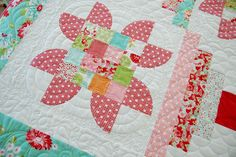 Cotton Way: Poppies. Kits to make this quilt and the beautiful coordinating fabrics are available at Prickly Pear Quilts in Helena, MT.  406.442.7327