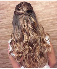 Braid crown + Half up half down hairstyle #weddinghair #hairstyle #promhair #bridalhair #halfuphalfdown #hairdown #bridehairideas