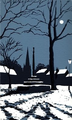 Market Cross in Winter, Masham by Ian Scott Massie. 2 colour, 11 x Linocut Prints, Art Prints, Illustrations, Illustration Art, Linoprint, Winter Art, Art For Art Sake, Wood Engraving, Snow