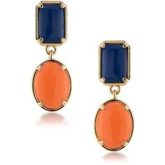 1st And Gorgeous Blue and Orange Cabochon Double-Drop Earrings ($14) ❤ liked on Polyvore featuring jewelry, earrings, gold, blue earrings, gold jewellery, gold drop earrings, yellow gold jewelry and gold post earrings