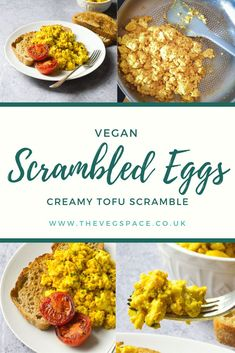 Creamy Vegan Scrambled Eggs - made from crumbled tofu - delicious and filling, perfect for a vegan breakfast or brunch #vegan #TheVegSpace Roasted Cherry Tomatoes, Grilled Tomatoes, Scrambled Tofu Recipe, Scrambled Eggs, Savory Breakfast, Breakfast Ideas, Dairy Free Cream, Brown Sauce, Tofu Scramble