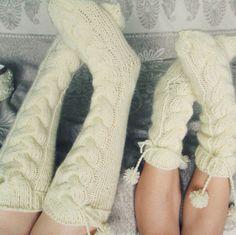 Ручной вязать носки по колено Носки шерстяные носки Теплая от mymomsshop1