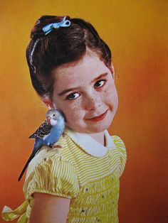 How cute are we , little girl with her parrot - vintage seventies postcard by Wendy Claus, via Flickr