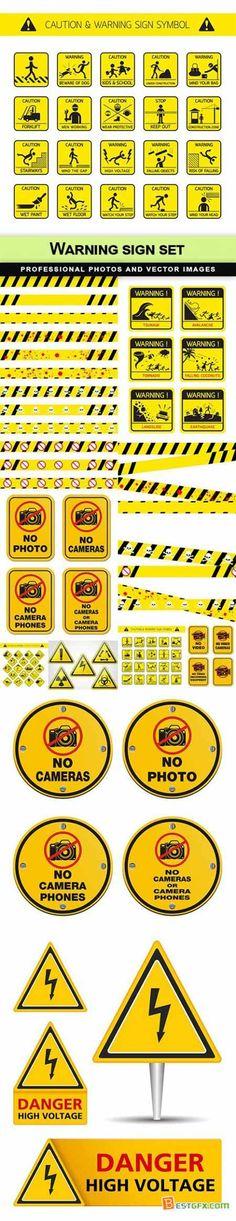 Warning sign set - 10 EPS