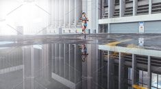 Ad: Woman running outdoors by Jacob Lund on Woman athlete running outdoors in the morning. Reflection of woman runner on water surface in front of a large city building. Running Women, Woman Running, Fitness Activities, Business Illustration, Sports Photos, Outdoor Woman, City Buildings, Athletic Women, Street Photography
