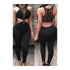 Rotita Black Sleeveless Cutout Waist Zipper Closure Jumpsuits ($20) ❤ liked on Polyvore featuring jumpsuits, black, jumpsuit, outfits, zipper jumpsuit, skinny jumpsuit, cut out jumpsuit, skinny leg jumpsuit and print jumpsuit