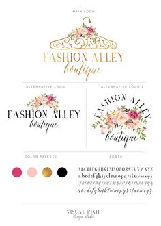 Branding Package  Gold Hanger Logo  Watercolor Flowers Logo