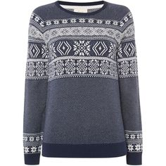 Linea Weekend Nordic fairisle jumper ($77) ❤ liked on Polyvore featuring tops, sweaters, navy marl, women, navy crew neck sweater, navy blue tops, navy sweater, fair isle sweater and navy top