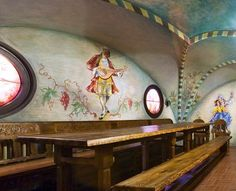 Wine cellar is located to Old manor. It's roof and walls has been decorated with Irina Bäcksbackas Irina Bäcksbackan paintings. Wine Cellar, Coffee Cups, How To Memorize Things, Paradise, Walls, Museum, Paintings, History, Decor