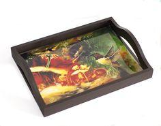 Bandeja en madera tamaño medio en madera,imagen en resina de vidrio,inpermeable,resistente al calor.
