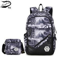 cf2296d4ed01 FengDong 2 pcs set men travel bags mens backpack bag for laptop 15.6 inch  boys school backpack schoolbag male small shoulder bag-in Backpacks from  Luggage ...