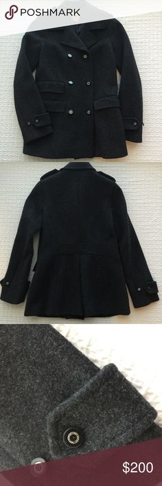 Tory Burch Dark Gray Wool Pea Coat Worn a handful of times and unfortunately it's too small for me this season. In excellent condition! Super warm coat, perfect for winter! Size 2 but also fits a 4.  { FYI, I'm trying to clear some space in my closet, so I'm not interested in trading :) Thanks! } Tory Burch Jackets & Coats Pea Coats