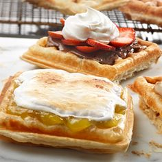 Forget the messy batter, these perfectly crisp waffles are made with tender, flaky puff pastry. Simply trim the pastry to fit the waffle maker and cook until golden brown. The result is a light and airy waffle ready for your favorite toppings!