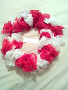 Red and White Infinity Ruffle Scarf by HopkinsHomemadeTrea on Etsy