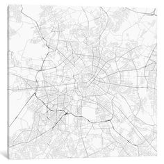 """Mercury Row Berlin Urban Roadway Map Graphic Art on Wrapped Canvas Size: 37"""" H x 37"""" W x 0.75"""" D"""
