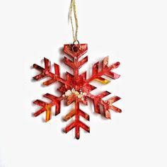 Large Red Snowflake Decoration Unusual Christmas Tree | Etsy Snowflake Decorations, Christmas Tree Decorations, Christmas Ornaments, Holiday Decor, Gifts For Art Lovers, Lovers Art, Unusual Christmas Trees, Snowflake Shape, Paint Storage