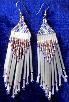 Beautifully hand crafted Native American danged beaded earrings  $2