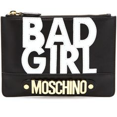 Moschino Bad Girl Clutch - Black (870 AED) found on Polyvore featuring women's fashion, bags, handbags, clutches, purses, bolsas, moschino, real leather handbags, man bag and leather pouch