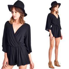 Sale! // Black Wide Sleeve Romper New with tag. Super cute black romper! Elastic waist band, true to size, young contemporary fitting. Made in USA. April Spirit Shorts