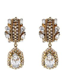 ERICKSON BEAMON Damsel gold-plated crystal earrings (7.672.085 IDR) ❤ liked on Polyvore featuring jewelry, earrings, gold, clear jewelry, erickson beamon jewelry, gold plated jewelry, crystal stone jewelry and gray earrings