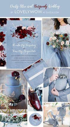 The most romantic wedding colors combo: dusty blue and burgundy wedding collage. Img src: Pinterest