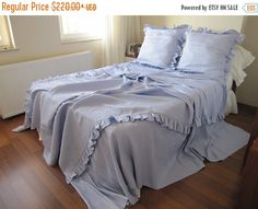 A beautiful, country chic, elegant duvet cover/ cozy soft / great to add a modern country chic touch to any decor. Unique, made by me, and sold only here in my etsy shop  Great quality, soft, trimmed with shabby chic ruffle. It makes any bedding set special.  ***Material : European lavender linen ***Machine washable, cold water/gentle cycle ***Tumble dry, low  ~~*~~*~~*~~*~~*~~*~~*~~*~~*~~*~~*~~*~~*~~*~~*~~* This price includes 3 pcs duvet cover set  1 pc light lavender linen d...