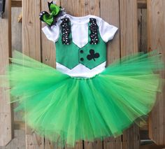 Baby girl Custom St. Patrick's Day tutu outfit/costume with matching hairbow on Etsy, $35.00