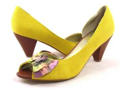 Seychelles Yellow Peep Open Toe Plaid Purple Green Bow Pumps Heels 10 Cute | eBay