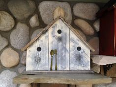 Handmade Birdhouse Shabby Chic, Rustic, Wooden, White Wash, Decorative Bird House Wall Art, Shelf Sitter, Fine Birdhouses in Woodworking on Etsy, $86.27 CAD