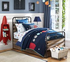 Eric Space Quilted Bedding | Pottery Barn Kids. Wall color is great too--Sherwin Williams Aleutian 6241