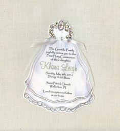 10 Girl Communion Veil Invitations  Personalized by sarajanestudio, $15.00
