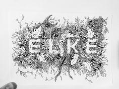 E L K E. black fine liner 0.3 typography.