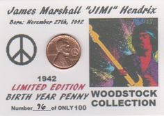 1942 Lincoln Cent JIMI HENDRIX Birth Year Penny COLLECTOR COIN LIMITED EDITION