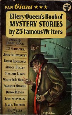 Ellery Queen's Book of Mystery Stories by 25 Famous Writers. Pan Giant X12, 1957, reprinted 1958. Vintage Pan paperback book cover.