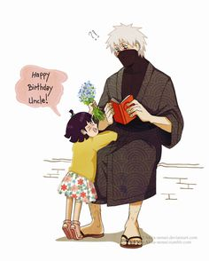 Kakashi and Himawari So Kawaii!!!