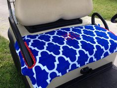 Monogrammed Moroccan Terry Cloth Golf Cart Seat by GolfMeAround Golf Cart Seat Covers, Golf Cart Seats, Yamaha Golf Carts, Outside Games, Golf Theme, Golf Accessories, Golf Fashion, Golf Outfit, Ladies Golf