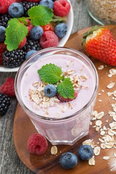berry milkshake with oatmeal, top view