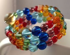 Bright Rainbow bead bracelet with FREE matching by IvyLouJewelry, $18.00