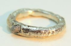 Rough Diamond engagement ring, Sterling Silver Band, Rustic Engagement Ring, Unique Wedding Band, Gemstone Jewelry by SagesLeaf on Etsy https://www.etsy.com/listing/263120453/rough-diamond-engagement-ring-sterling