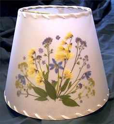 Botanical Lampshade - #3595 - forget-me-nots, shad, scilla and lady's mantle