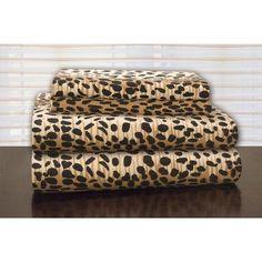 Pointehaven Heavy Weight Leopard Flannel Sheet Set Size: Extra-Long Twin