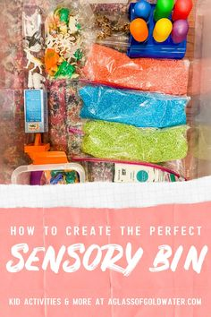 Inside our sensory bin: at-home sensory activities for kids that are fun and easy for mom too! Less mess -- more fun!