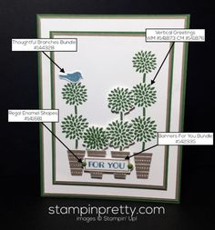 Vertical Greetings topiary tree card idea.  Mary Fish, Stampin' Up! Demonstrator.  1000+ StampinUp & SUO card ideas.  Read more http://stampinpretty.com/2016/08/simple-for-you-with-vertical-greetings.html