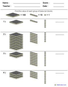 Base 10 Blocks Worksheets