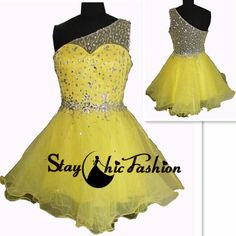 Sexy Yellow Short Beaded Net One Shoulder Sheer Back Prom Dress Cheap Cheap Prom Dresses, Formal Dresses, Yellow Shorts, Party Dress, Short Prom, Trending Outfits, Sexy, Shoulder, Color