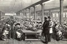 """Sewing women at A. T. Stewart's Dry Goods Store.  In 1846, Irish immigrant Stewart opened his showplace Broadway store - dubbed the """"marble palace"""" for its singular façade. During the Civil War, Stewart's business boomed, partly because of contracts for soldiers' uniforms, and partly because of a tariff on foreign-made garments."""