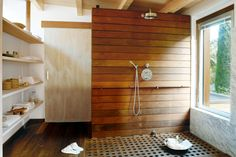 the warmth of timber in the bathroom; correct installation & finishes prevent rot & discolouration; Danish oil finish seals the timber from steamy conditions; natural oil & wax give a more weathered look. Ensure the timber is kiln-dried and sealed with a clear finish. Spotted gum, recycled messmate, Tasmanian oak, western red cedar and Baltic pine are recommended for their great durability