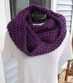 Crochet Loop or Infinity Scarf Purple Chunky Scarf by GabbysQuilts